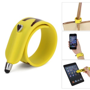 KTWO Jeet Kune Do Pattern Wrist Slap Capacitive Touch Screen Pen Stylus for iPhone iPad iPod Samsung HTC LG - Light Yellow