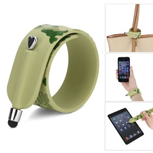 KTWO Camouflage Pattern Wrist Slap Capacitive Touch Screen Pen Stylus for iPhone iPad iPod Samsung HTC LG - Green