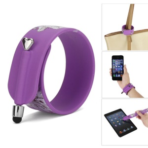 KTWO Flower Pattern Wrist Slap Capacitive Touch Screen Pen Stylus for iPhone iPad iPod Samsung HTC LG - Purple