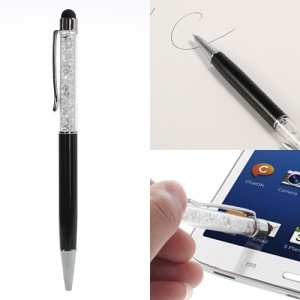 Rhinestone Capacitive Touch Screen Stylus & Ballpoint Pen for iPhone iPad iPod Samsung LG Sony - Black