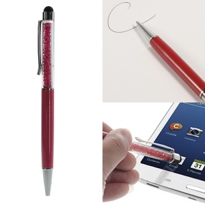 Rhinestone Capacitive Stylus Touch Screen Pen & Ballpoint Pen for iPhone iPad iPod Samsung LG Sony - Red