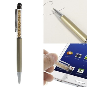 Rhinestone Capacitive Touch Screen Stylus with Ballpoint Pen for iPhone iPad iPod Samsung LG Sony - Gold