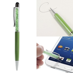 Rhinestone Capacitive Touch Screen Stylus with Ballpoint Pen for iPhone iPad iPod Samsung LG Sony - Green