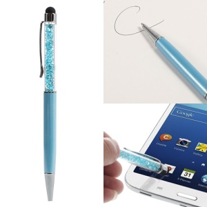 Rhinestone Capacitive Touch Screen Pen Stylus & Ballpoint Pen for iPhone iPad iPod Samsung LG Sony - Baby Blue