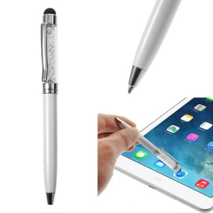 White Bling Flowing Crystal Capacitive Touch Stylus & Ballpoint Pen for iPhone iPad Samsung LG Huawei