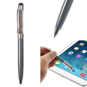 Grey Bling Flowing Crystal Capacitive Touch Stylus & Ballpoint Pen for iPhone iPad Samsung LG Huawei