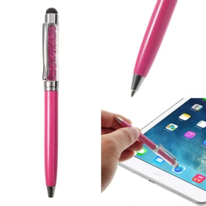 Rose Bling Flowing Crystal Capacitive Touch Stylus & Ballpoint Pen for iPhone iPad Samsung LG Huawei