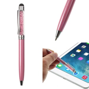 Pink Bling Rhinestone Capacitive Touch Stylus & Ballpoint Pen for iPhone iPad Samsung LG Huawei
