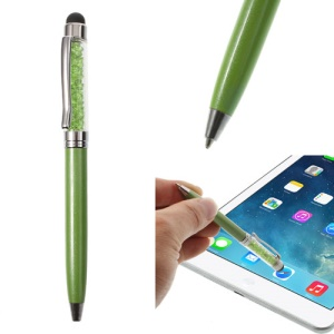 Green Bling Rhinestone Capacitive Touch Stylus & Ballpoint Pen for iPhone iPad Samsung Sony HTC