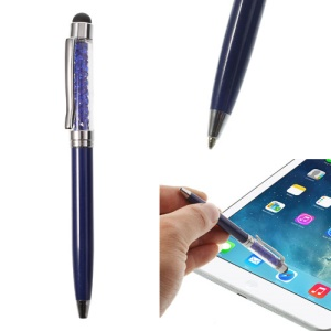 Dark Blue Bling Rhinestone Capacitive Touch Stylus & Ballpoint Pen for iPhone iPad Samsung Sony HTC