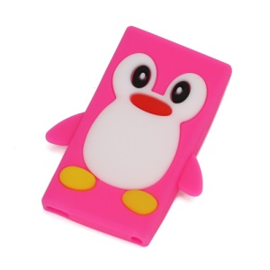 3D Penguin Flex Soft Silicone Back Cover Case for iPod Nano 7 - Rose