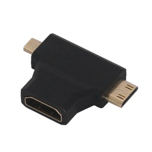 Combo Micro HDMI Male &amp;amp; Mini HDMI Male to HDMI Female 2 in1 Adapter