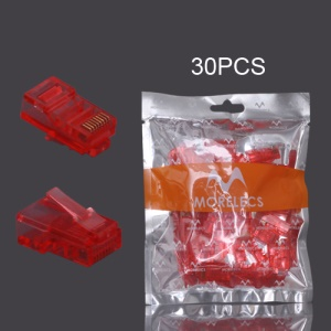 30PCS RJ45 CAT5 8P8C Crystal Network Modular Connector - Red
