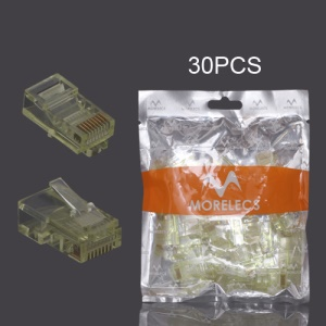 30PCS RJ45 CAT5 8P8C Crystal Network Modular Connector - Yellow