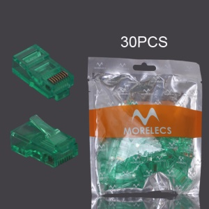 30PCS RJ45 CAT5 8P8C Crystal Network Modular Connector - Light Green