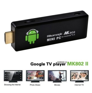 Rikomagic MK802II Android 4.0 Mini PC Internet WiFi Google TV Box - Black