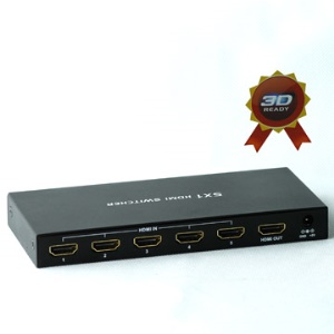 5x1 5 Port HDMI Switch Selector with Remote ,Support 3D HDMI 1.3 and 1080P