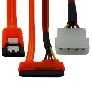 Red 15+7 Pin Power/Data to 4 Pin IDE Power SATA Data Cable(50cm)