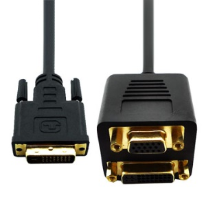 DVI 24+5 Male to DVI 24+5 Female and VGA 15Pin Female Cable (35cm)