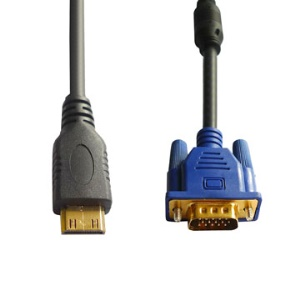 1080P 24K Gold Mini HDMI to VGA HD-15 Male Cable (1M/6FT)
