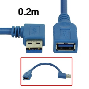 USB 3.0 Right Angle 90 Degree Male to Female Extension Cable,Length:0.2m
