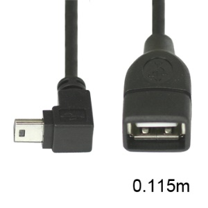 Mini USB Male to USB 2.0 Female Adapter Cable Down Angle 90 Degree,Length:11.5cm down