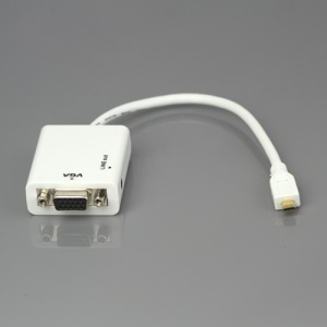 Micro HDMI to VGA + Aduio HD Conversion Cable Adapter 24cm - White