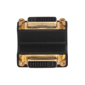 Gold Plated DVI 24+5 pin Female to Female 90 degree Right Angle Converter Adapter