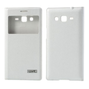 White for Samsung Galaxy Grand 2 G7100 G7102 G7105 Silk Texture Smart S View Leather Battery Housing Case