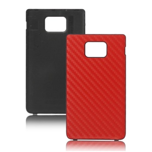 Carbon Fiber Leather Housing Battery Door Cover for Samsung i9100 Galaxy S ii - Red