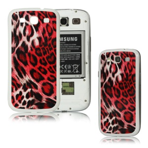 Leopard Samsung i9300 Galaxy S iii Back Cover Housing - White / Red
