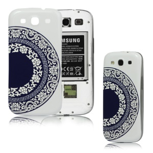 Blue and White Porcelain Embossed Back Cover Housing for Samsung i9300 Galaxy S3