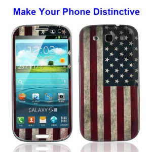 Relief American Flag Samsung i9300 Galaxy S3 iii Back Cover Housing w/ Front Decal Sticker