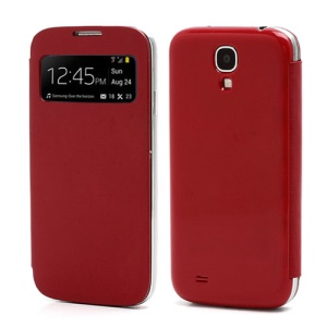 S-View Flip Cover Housing Battery Cover for Samsung Galaxy Galaxy S IV S4 i9500 - Red