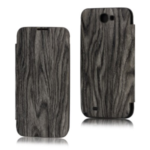 Wood Grain Leather Skin Front Case and Back Cover for Samsung Galaxy Note ii N7100 - Grey