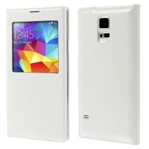 Window View Wireless Charger Leather Flip Battery Cover Housing for Samsung Galaxy S5 G900 - White
