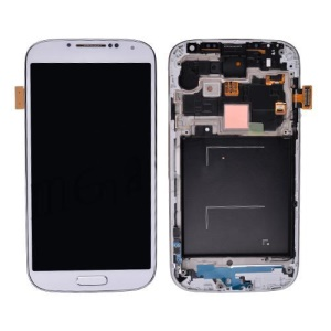 White LCD with Touch Screen Digitizer + Home Button + Headphone Jack + Tail Plug + Camera Cable for Samsung Galaxy S4 SGH-I337 AT&T OEM