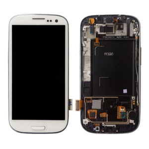 Samsung i9300 Galaxy S iii LCD Assembly w/ Touch Screen Digitizer and Other Parts (Frame + Home Button + Earpiece Flex + Sensor Flex + Vibration Motor) OEM - White