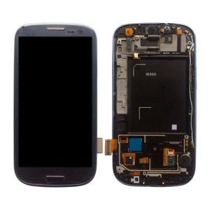 Samsung i9300 Galaxy S iii LCD Assembly w/ Touch Screen Digitizer and Other Parts (Frame + Home Button + Earpiece Flex + Sensor Flex + Vibration Motor) OEM - Blue