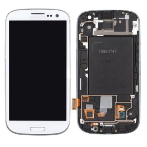 T-Mobile For Samsung Galaxy S3 T999 LCD Assembly with Touch Screen + Middle Frame - White