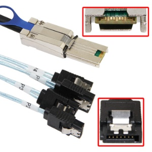 Mini SAS (SFF-8088) to (4) SATA Cable,Length:1m