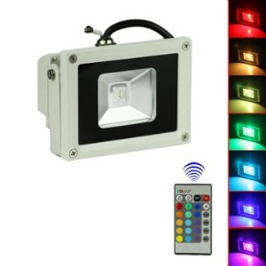 10W 85-265V Color Changing RGB Outdoor LED Flood Light + Remote Control EU Plug