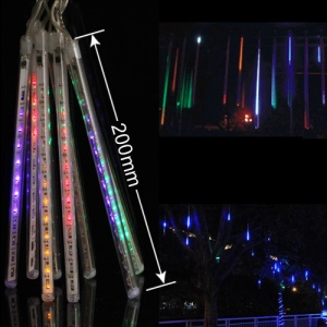 LED Meteor Shower Rain Tube Lights Outdoor Tree Decoration 8X 20cm Poles - RGB