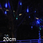 LED Meteor Shower Rain Tube Lights Outdoor Tree Decoration 8X 20cm Poles - Blue