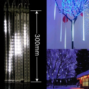 LED Meteor Shower Rain Tube Lights Outdoor Tree Decoration 8X 30cm Poles - White