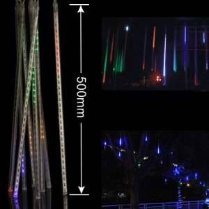 LED Meteor Shower Rain Tube Lights Outdoor Tree Decoration 8X 50cm Poles - RGB