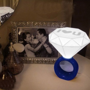 Romantic Diamond Ring Shaped Mood Lamp Night Light - Blue