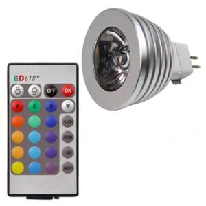 16 Colors MR16 3W Remote Control RGB LED Bulb Light DC 12V