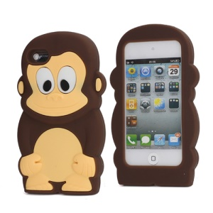Adorable Smiley Monkey Rubberized Flex Soft Silicone Gel Case for iPod Touch 4 - Coffee
