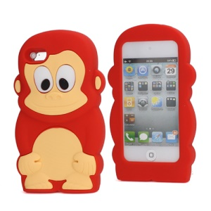 Adorable Smiley Monkey Rubberized Flex Soft Silicone Gel Case for iPod Touch 4 - Red